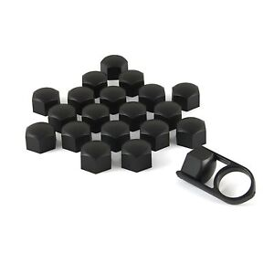 17mm MATT BLACK ALLOY WHEEL NUT BOLT COVERS CAPS UNIVERSAL SET FOR ANY CAR