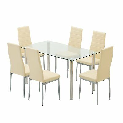 7-Piece Glass Top Table with 6 Chairs Kitchen Dining Table Set Light Yellow