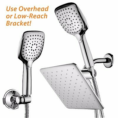 HotelSpa� 10.5-In Rain Shower Head and Handheld Combo Convenient Push-Button