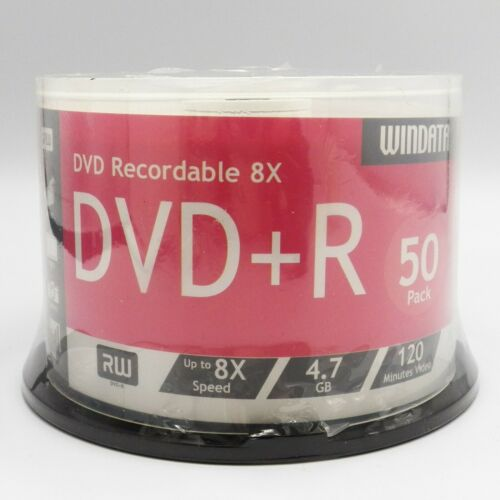 Windata DVD+R 50 Disc Spindle 4.7 gb 8x compatible 120 Minutes Sealed Recordable