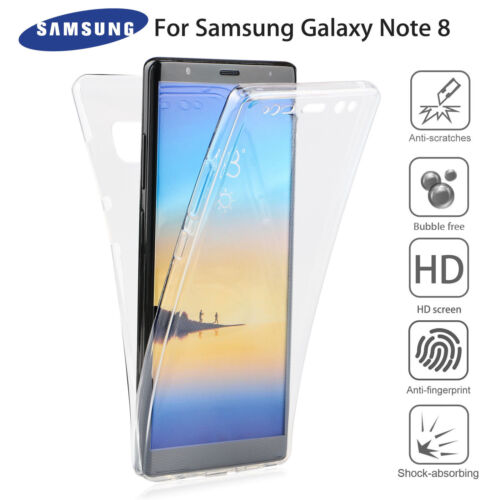 best service f2503 440e5 Details about For Samsung Note 8 360° Full Body Clear TPU Front + Back  Protection Case Cover