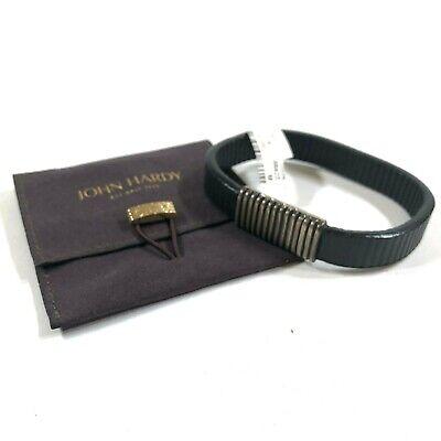 "John Hardy Volcanic Black Ribbed Leather Sterling Silver Clasp Bracelet 8.5"""