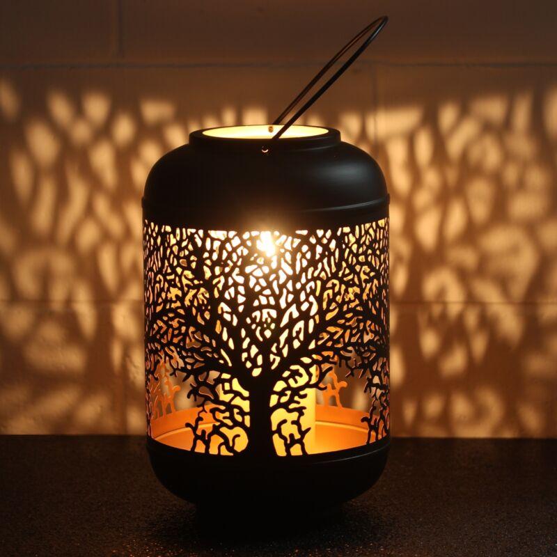 31cm Large Tree of Life Black Votive Candle Holder Lantern Laser Cut Out Design