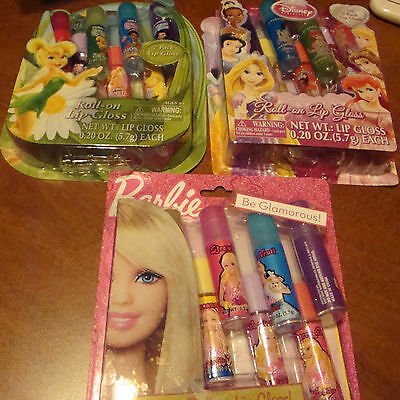 GIRLS 7 PC LIP GLOSS SETS PARTY FAVORS/GIFTS TINKERBELL BARBIE & PRINCESSES  NIB - Barbie Party Favors