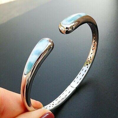 100% High Quality Sterling S925 Natural Larimar Gemstone Women Bracelet Bangle