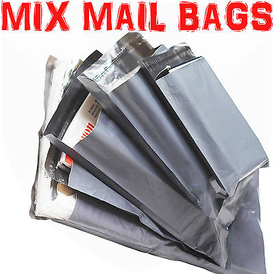 100 MIXED SIZES Grey Postage/Poly/Postal Mailing Bags/Sacks/Envelopes Self Seal