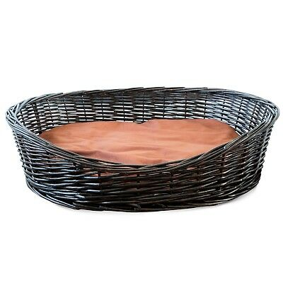 Handmade Oval Dark Brown Wicker Dog Bed Pet Basket Sofa