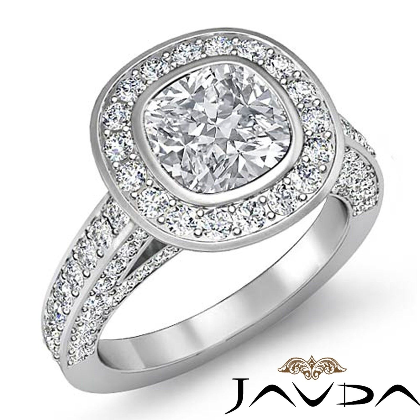 2.72ctw Halo Pave Bezel Accent Cushion Diamond Engagement Ring GIA H-SI1 W Gold