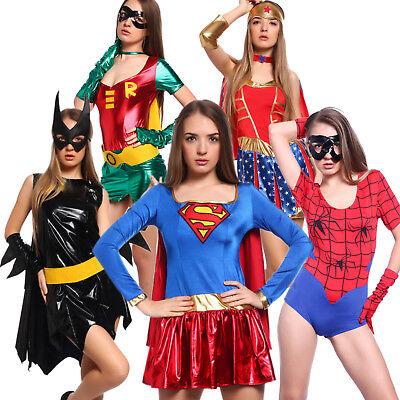 Frauen Heldin Heroien Kostüm Wonder Woman Robin Hood Spidergirl Bat Girl Kleider