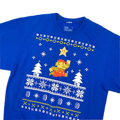 Nintendo Brand Super Mario Bros Ugly Christmas Sweater- Blue, Size M- CJ3