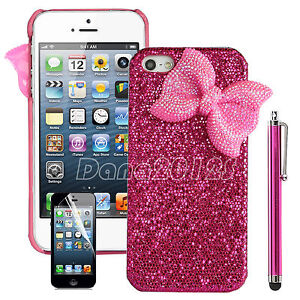 Pen+ Luxury 3D Bling Crystal Rhinestone Bow Hard Case Cover for iPhone 4 4S 5 5G