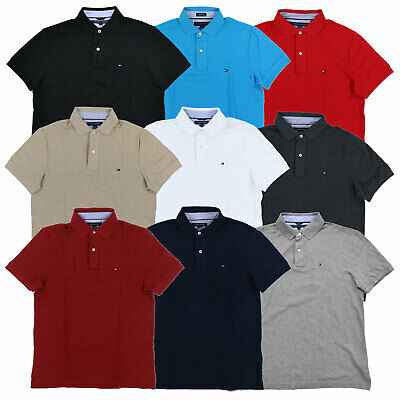 Tommy Hilfiger Polo Shirt Mens Custom Fit Mesh Solid Short Sleeve Collared - Tommy Hilfiger Collared