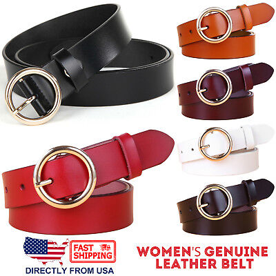Women's Jean Belt, Classic Round Buckle Handcrafted Genuine Leather Belt