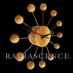 HOWARD MILLER GEORGE NELSON SPACE AGE MODERN SPUTNIK WOOD BALL WALL CLOCK 50's