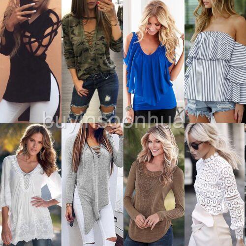 Fashion Womens Summer Long Sleeve Shirt Casual Blouse Loose Cotton Tops T Shirt