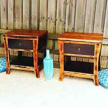 Pair of Bedside Tables Lockers W Drawers Distressed Finish Timber Coogee Eastern Suburbs Preview