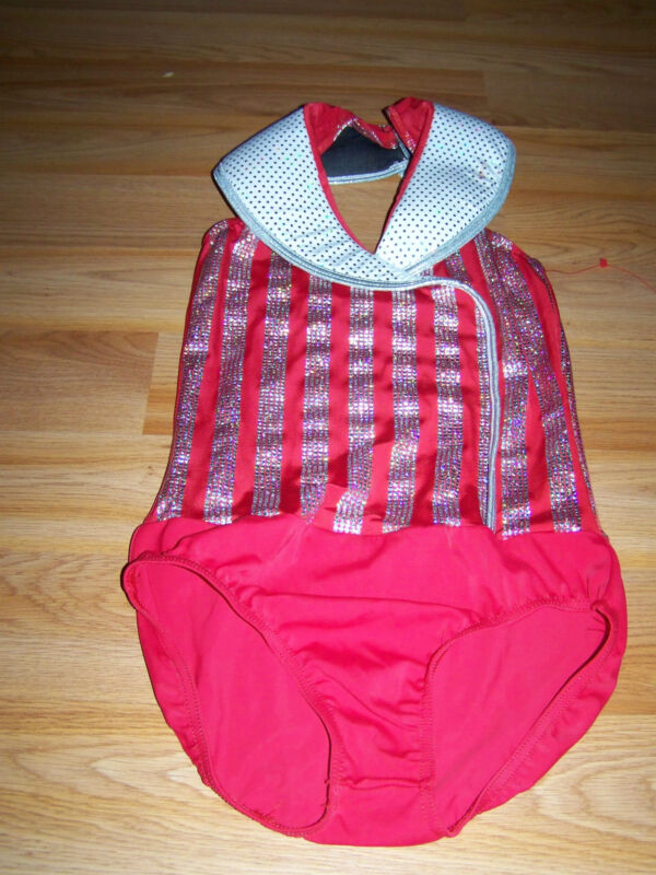 Size Child Large 14-16 Weissmans Red White Silver Dance Leotard Costume Jazz EUC