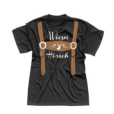 T-Shirt Oktoberfest Wiesn Hirsch Lederhose Kostüm Tracht 13 Farben Herren - Kostüm Tshirt