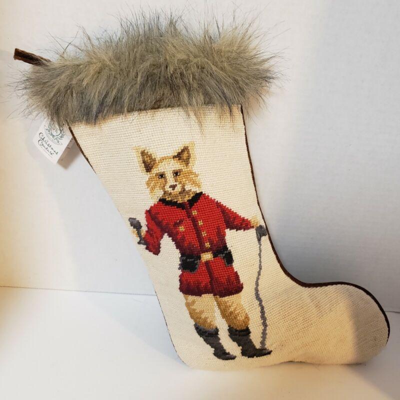 Needlepoint Christmas Stocking Fox Hunt Dressed Up Fur Couture Jason Keith NWT