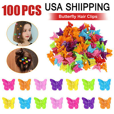 100Pcs Mini Butterfly Hair Clips Barrette Accessories Assort