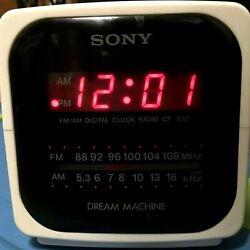 Vtg Sony Dream Machine ICF-C121 White Cube AM/FM Radio Alarm Clock - One Owner