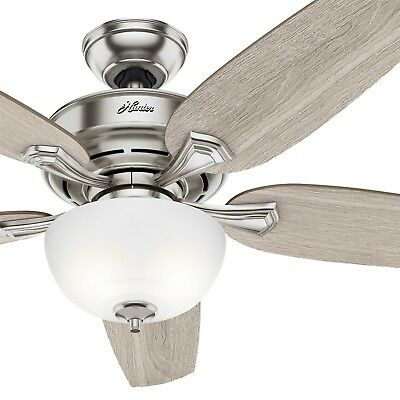Hunter Fan 54 in Casual Brushed Nickel Ceiling Fan w/ Light Kit & Remote Control