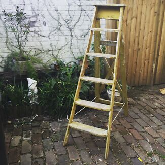 Gorgeous rustic country yellow old wooden painters ladder Leichhardt Leichhardt Area Preview
