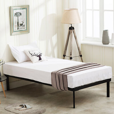 Twin Size Metal Platform Bed Frame w/ Wood Slats Mattress Foundation Bedroom