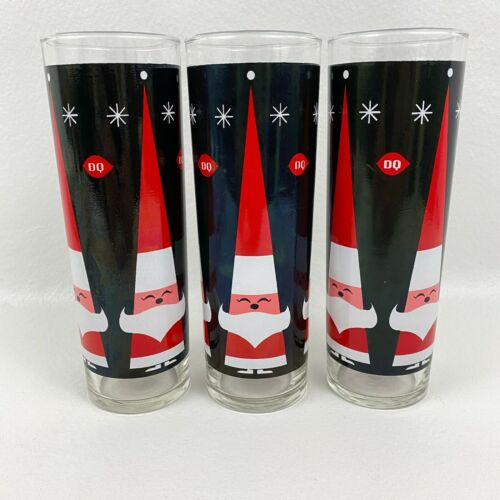 "Holt Howard DQ Dairy Queen Holiday Santa Claus 7"" Christmas Glasses-set of  3"
