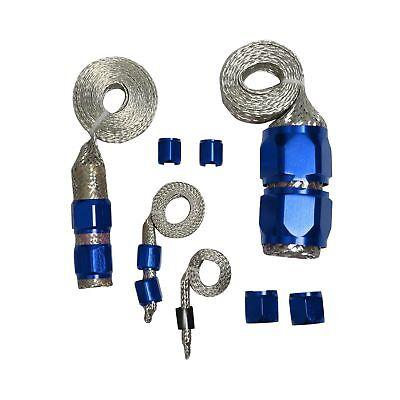 BLUE STAINLESS STEEL BRAIDED HOSE ENGINE DRESS UP KIT RADIATOR/VACUUM/FUEL/OIL - Engine Radiator Hose