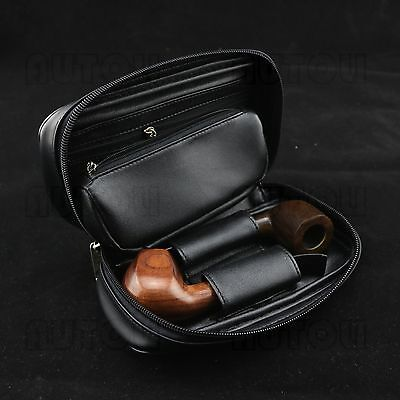 Durable Portable Smoking Pipe Case/Bag Holds 2 Pipes+Tobacco Pouch