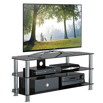 Black Glass TV Stand Chrome 55 57 58 59 60 61 62 64 65 66 67 68 70 Plasma LCD TV