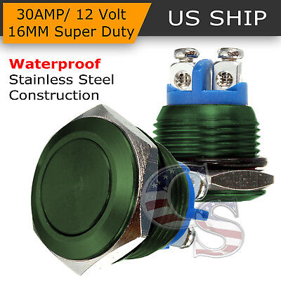 16mm Green Water Proof Starter Switch Boat Horn Momentary Button Stainless Steel