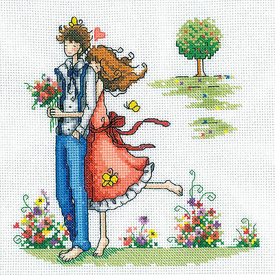 Cross Stitch Kit   Rto Romantic Couple In The Park Out For A Walk  M164