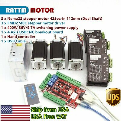 Us Stock3 Axis Usb Cnc Controller Kit Nema23 425oz-in Dual Shaft Stepper Motor