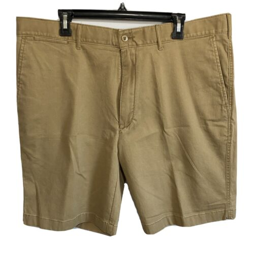 """Cremieux Mens Madison Khaki Chino Shorts 40 Flat Front 9"""" Stretch Clothing, Shoes & Accessories"""