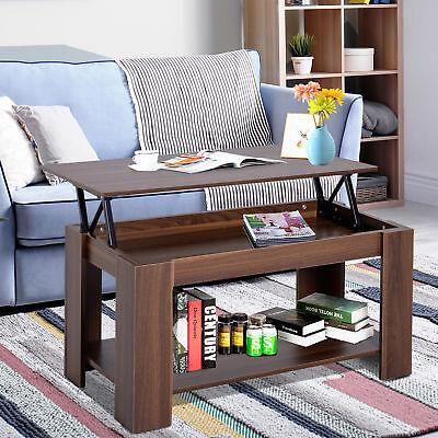 HOMCOM 100cm Modern Lift Up Top Coffee Table Desk Hidden Storage Bottom Shelf