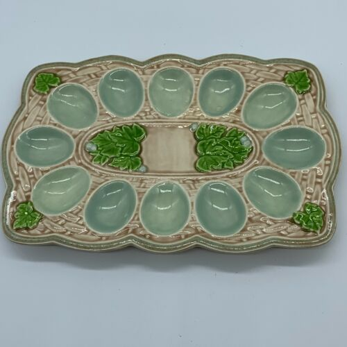 Vintage Pottery Egg Plate Easter Wicker and Leaves Dozen