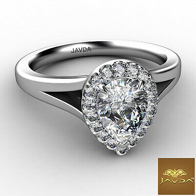 French U Pave Halo Split Shank Pear Cut Diamond Engagement Ring GIA H VS1 0.7Ct 1
