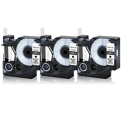 3pk 45013 Black On White Label Tape For Dymo D1 Labelmanager S0720530 12mm 12