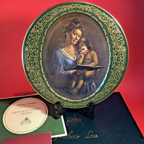 PICKARD CHINA MOTHERS LOVE PLATE STORY TIME SIGNED IRENE SPENCER GOLD LIMITED