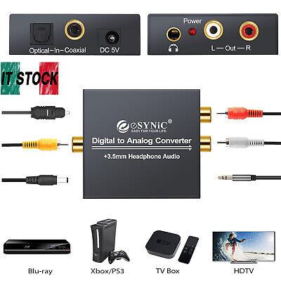 Convertitore DAC audio da digitale ad analogico RCA L/R 3,5 mm con cavo ottico