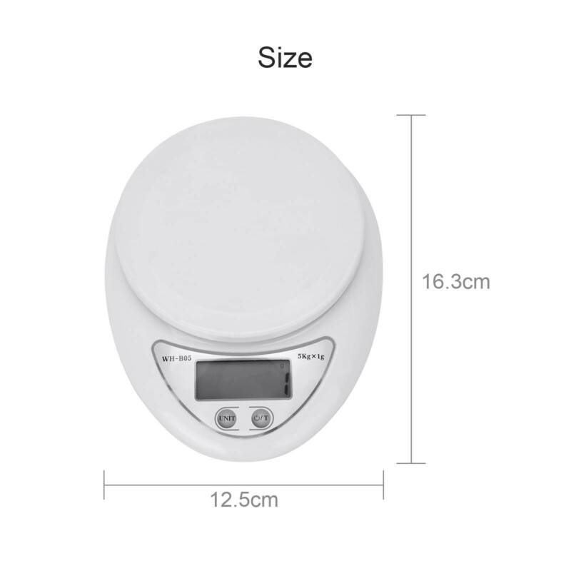 5KG/1KG Sliver Steel LCD Electronic Cooking Food Weighing Scales
