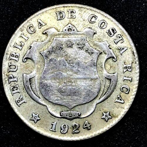 COSTA RICA: 25 CENTIMOS 1924(924) National Arms  SILVER COIN. KM #168. Coin #3
