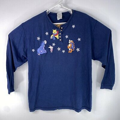 Vintage Winnie The Pooh The Disney Catalog Adult Sz XL Blue Embroidered T Shirt