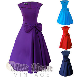 New-Vintage-1950s-60s-Rockabilly-Blue-Purple-Black-Bow-Swing-Party-Evening-Dress