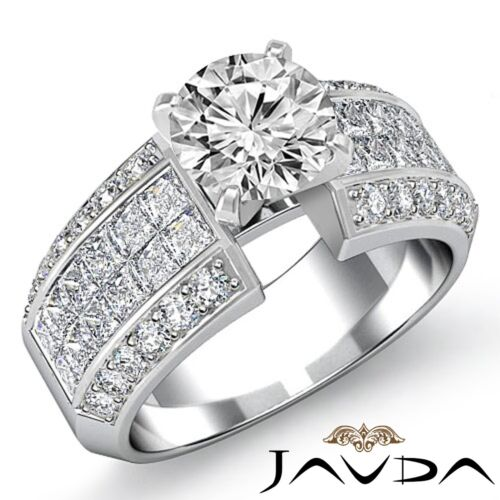 2.96ct Round Cut Diamond Engagement Invisible Set Ring GIA F SI1 14k White Gold