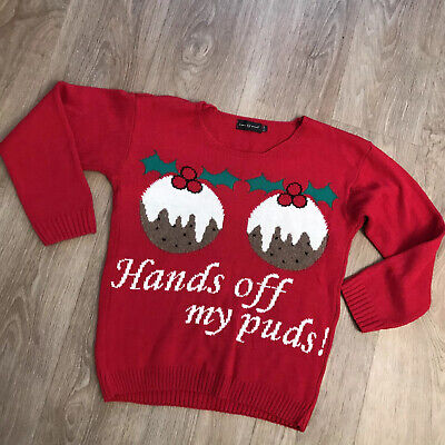 Christmas Jumper | Small / Med 10 12 14 - Hands Off My Pud Novelty Rude Funny