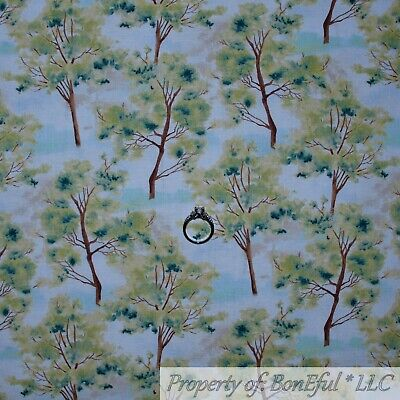 BonEful FABRIC Cotton Quilt Blue Sky Cloud White Green Spring Tree Forest SCRAP