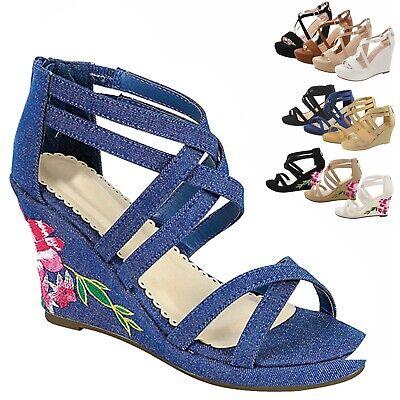 New Women Gladiator Wedge High Heel Sandals Open Toe Platform Strappy Shoes ()